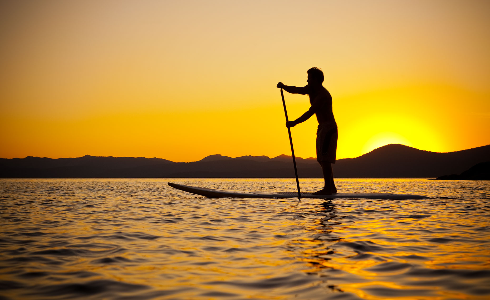 Lake Tahoe Sunset Paddleboarding Photo
